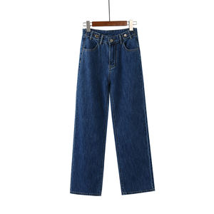 Wholesale Blue Wide Leg Belt Cheap Jeans For Womens