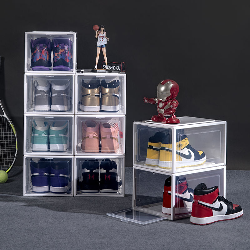 Custom Stackable Display Giant Clear Transparent Drop Front Acrylic Nike Basketball Plastic Storage Shoe Sneaker Box With Magnet