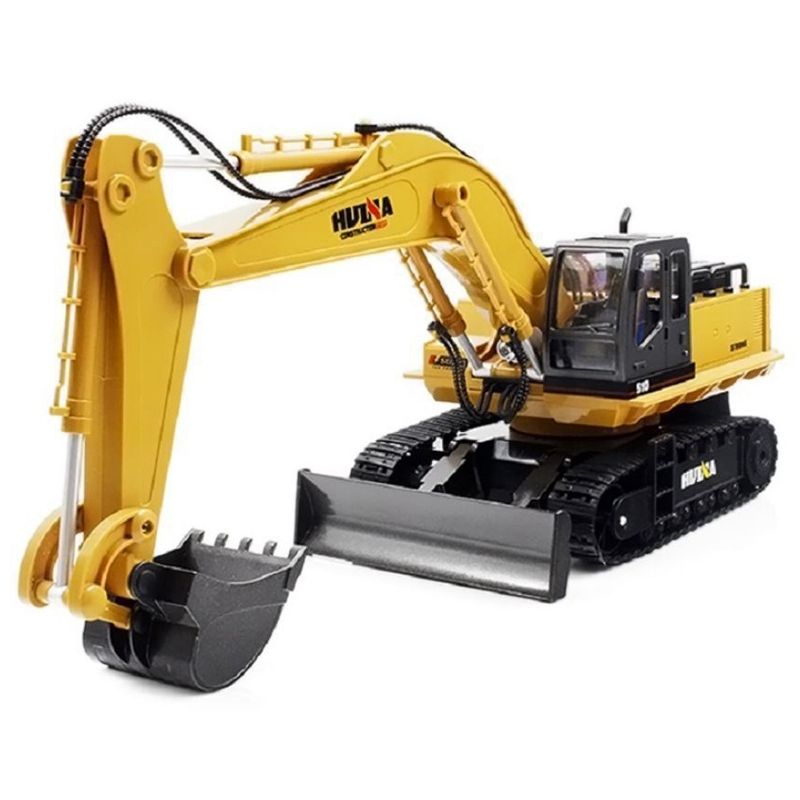 HUINA 1510 RC Alloy Excavator 2.4G 11CH Metal Remote Control Engineering Digger Truck Model Toy 680' Rotation Sound Light