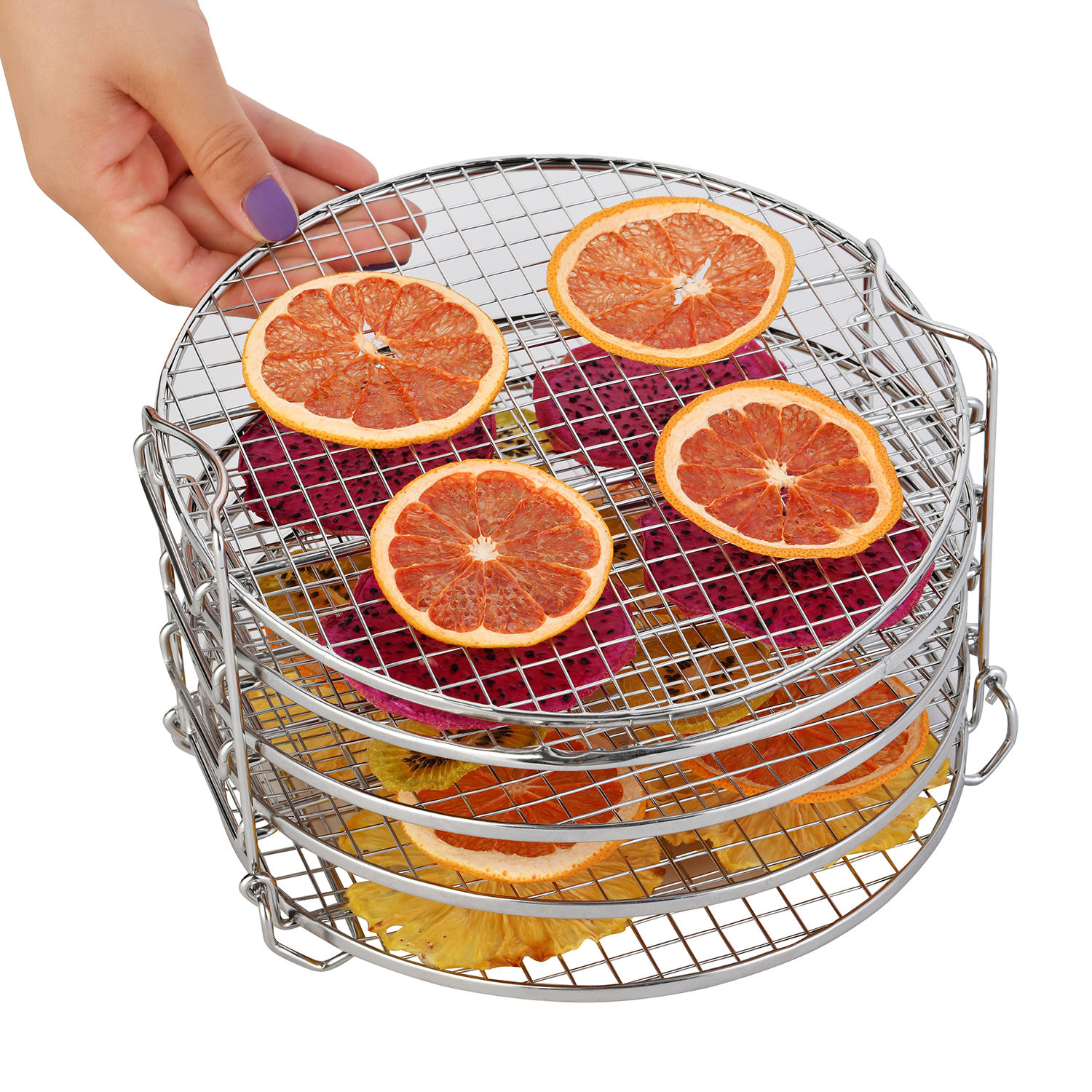 Dehydrator Rack, Grill Stand Air Fryer Rack with Five Stackable Layer with Feet 304 Food Grade Stainless Steel Dehydrator Stand