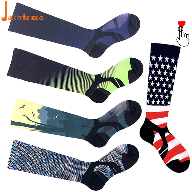 Take Pictures To Customize Various Patterns Wholesale Cycling Running Logo Sports Sublimation Print Knit Custom Socks