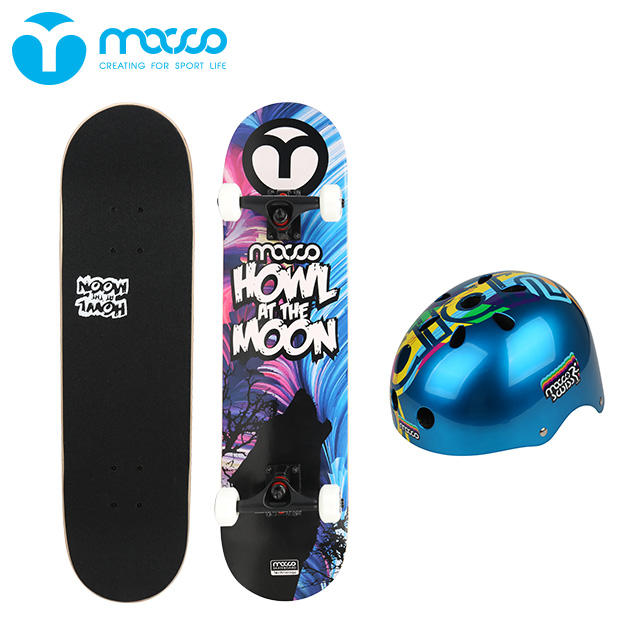 Junior beginner four-wheeled professional adult skateboard wooden maple double rocker SA K9 blue suit