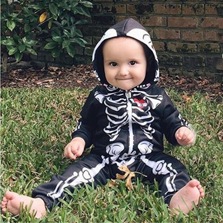 2020 Ins Hot Sale Skull Long Sleeve Baby Crawling Cloth for Halloween Holiday Festival Costumes