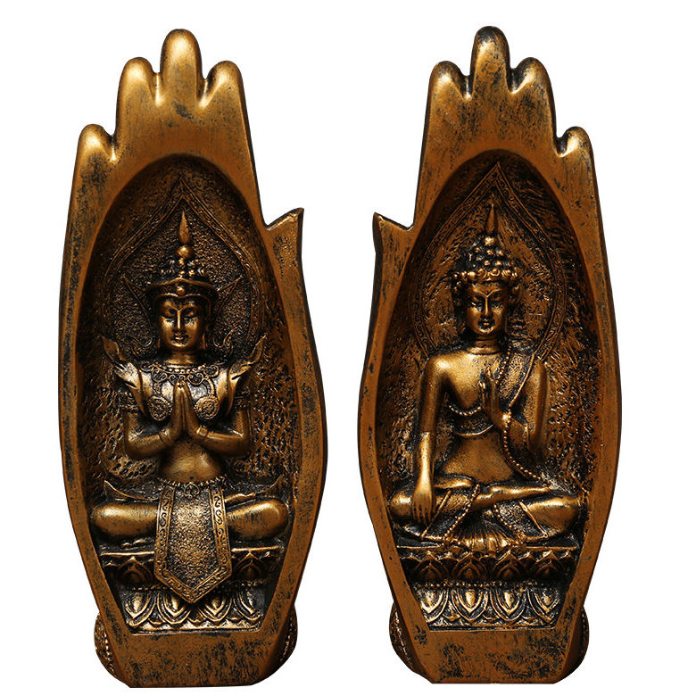 Buddha SittingでHand Statue Resin Buddha Thailand Buddhist Figurines Home Decor Zen Gifts White