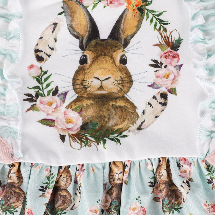 Spring Easter Girls Short Sleeve Bunny Print Dress