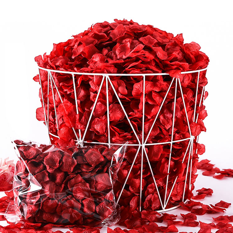 Wholesale Bulk rayon silk rose petals decoration sprinkled on wedding artificial red satin rose petals Valentine's Day decor