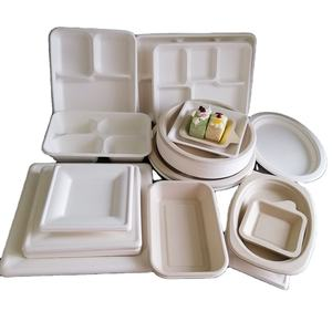 cheap price sugarcane pulp paper compostable biodegradable trays plates disposable
