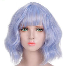 For Party Cosplay Colorful Pink Hair Purple with Bangs Heat Resistant High Temperature Short Bob Curly Wavy Synthetic Wig