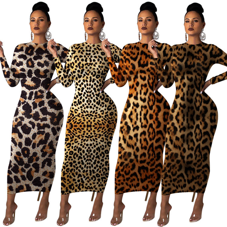Neueste design sexy grund mode langarm leopard bodycon kleid damen