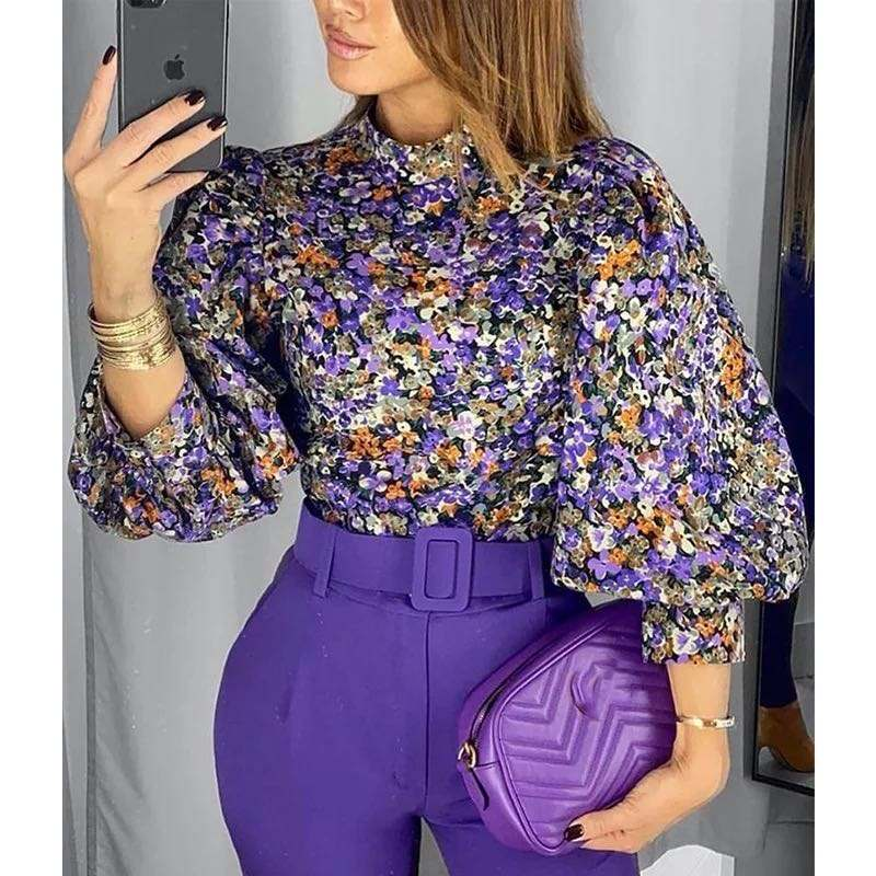 Fall new arrival european american office ladies gorgeous floral printed shirt sexy blouse
