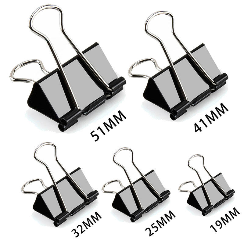 Logo Print Paper Clip 19 25 32 41 51mm Metal Binder Clips Black Grip Clamps Office School Paper Document Clips