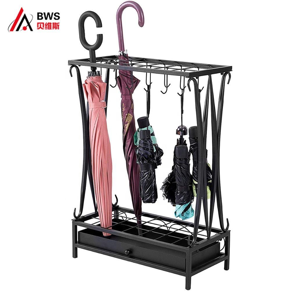 Modern Black Metal Umbrella Stand Holder Storage Rack with Removable Base Drip Tray