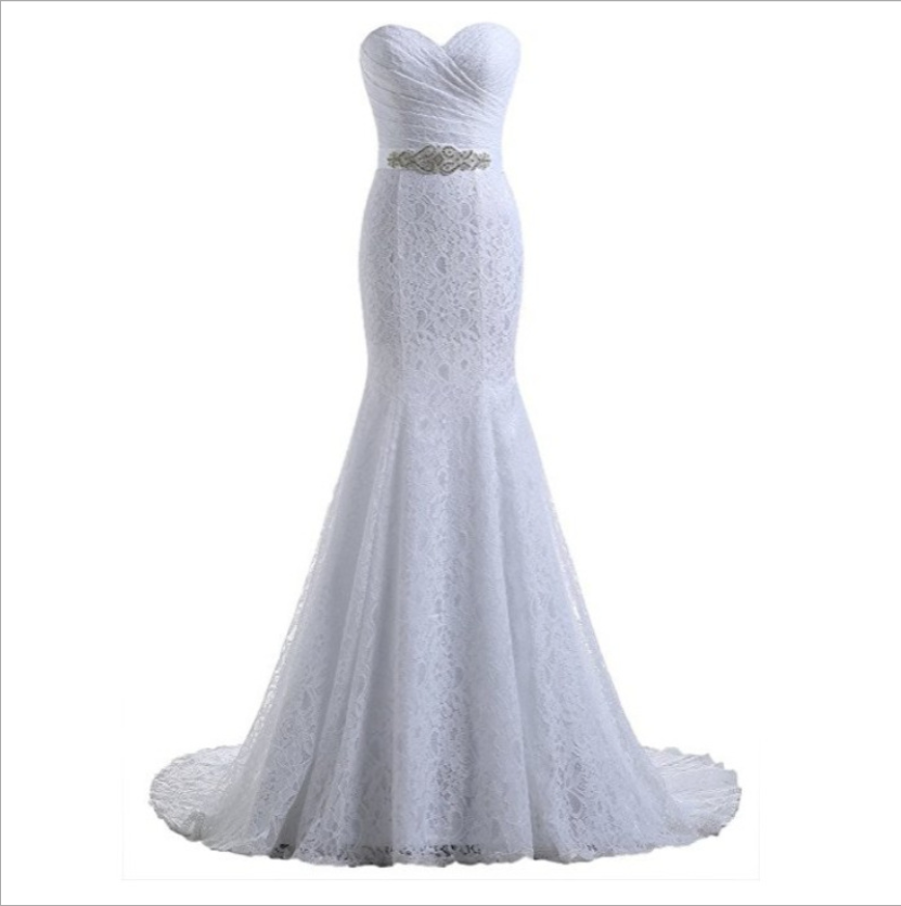 Hot Sales New Design Lace Mermaid Wedding Dresses Bridal With Waistband