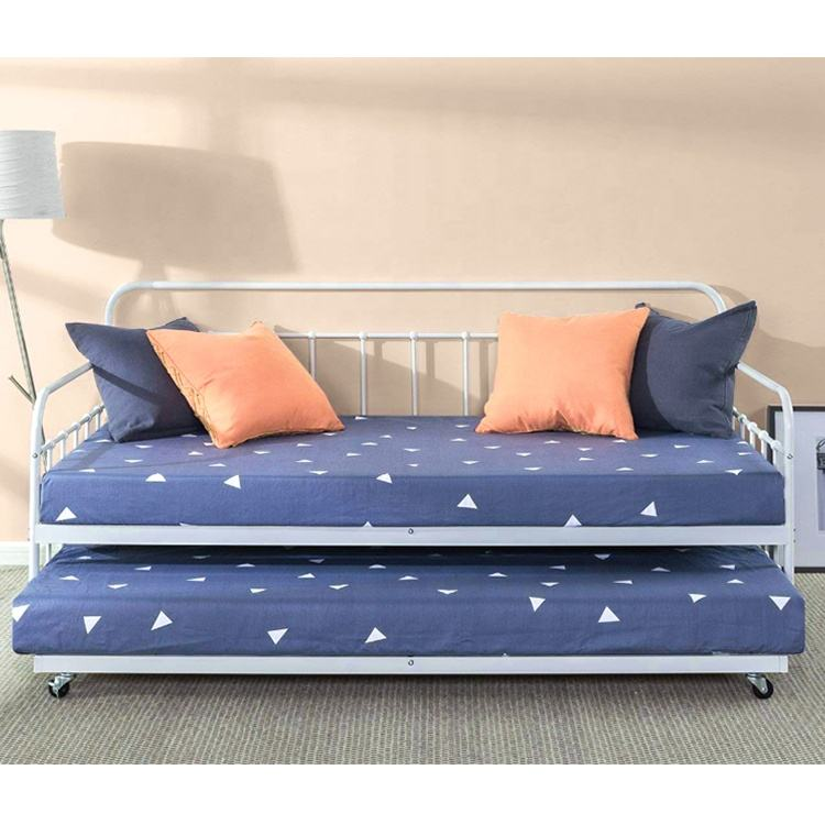 metal daybed /sofa cum bed / guest bed with pull out metal bed frame for bedroom living room use