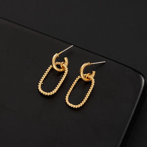 18K 22K Gold Hoop Stud Earrings beaded hoop Drop Dangle Earring Minimalist Modern Design for men women jewelry