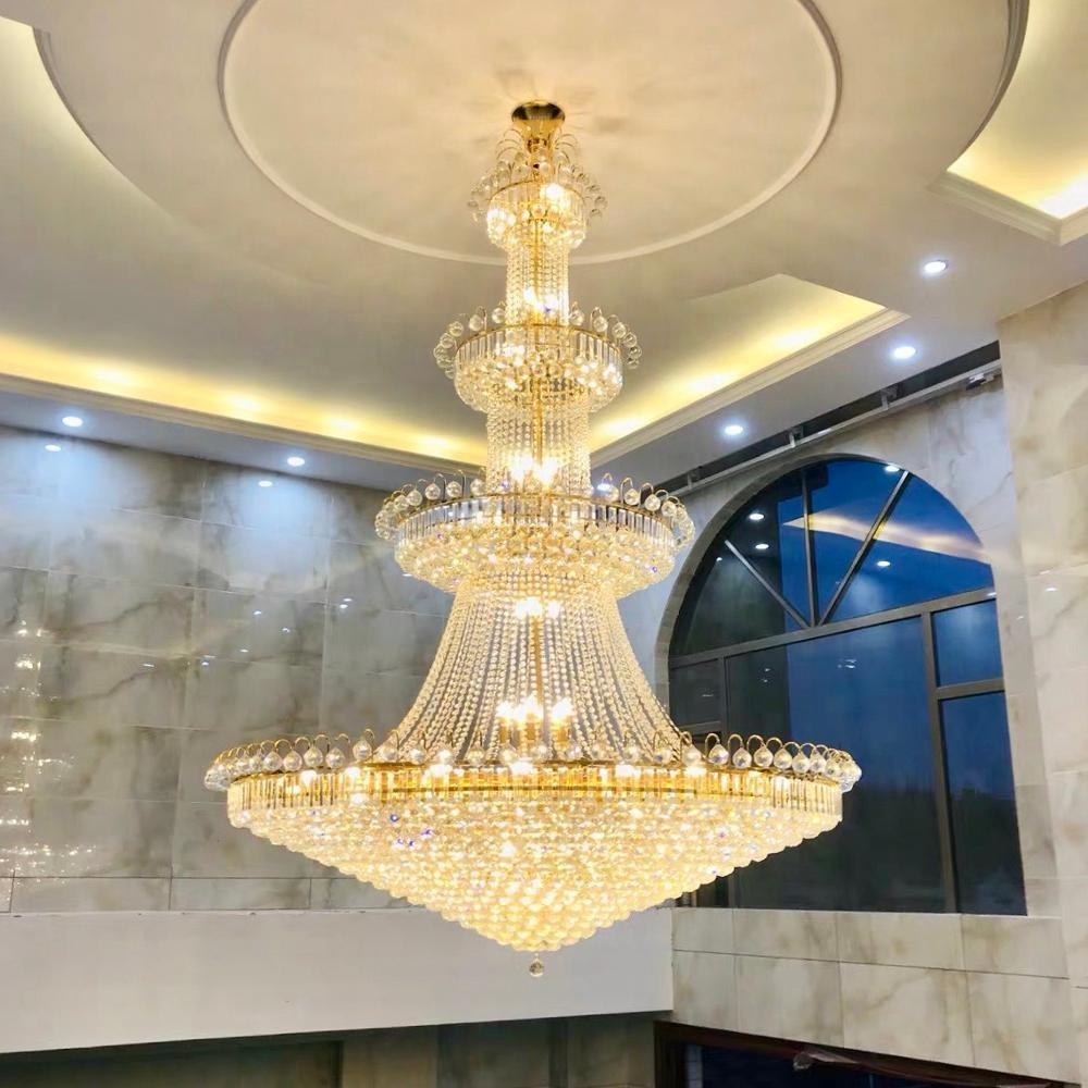 Moderne Luxe Royal Gold Crystal Ball Kroonluchter Verlichting Plafondlamp Voor Hotel Lobby Decor Verlichting Hoge Plafond Decor