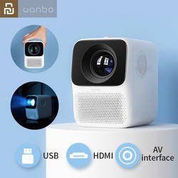 XIAOMI 2020 Wanbo LCD Mini Projector T2 Free LED Support 1080P Vertical Keystone Correction Portable Mini Home Theater Projector