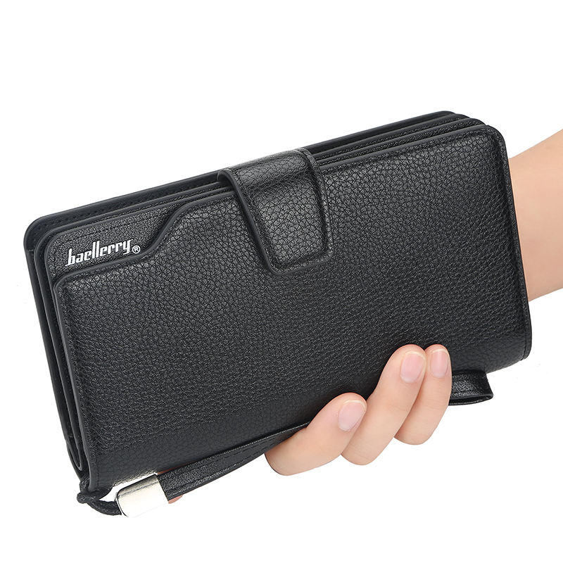 Great quality baellery brand Multifunction Long style Men's clutch PU leather wallet purse with Wrist band Male wallet designer