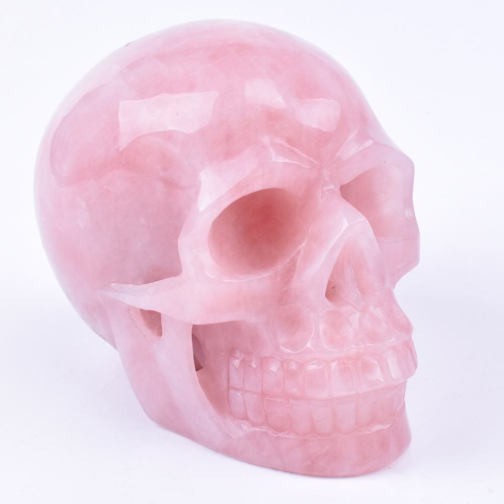 Hand Carved Realistic Natural Healing Stone Rose Quartz Crystal Skull