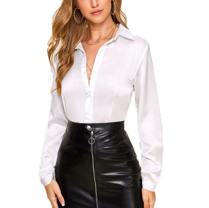 White Solid Women Button Satin Shirt Long Sleeve Office Ladies Elegant Blouse