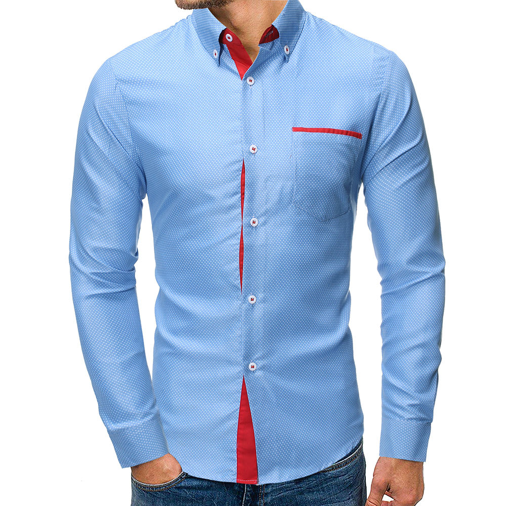 81y7035 Men's plus size fashion dot print casual business long sleeve shirt