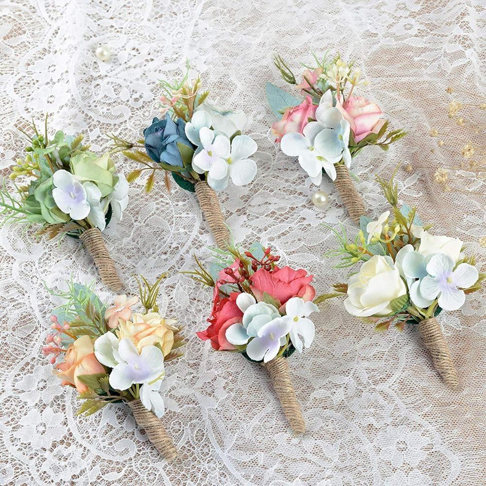 Handmade Boutonnieres Artificial Flowers Brooch Banquet Corsage with Pin Groom Flower for Wedding Party Prom Man Suit Decoration
