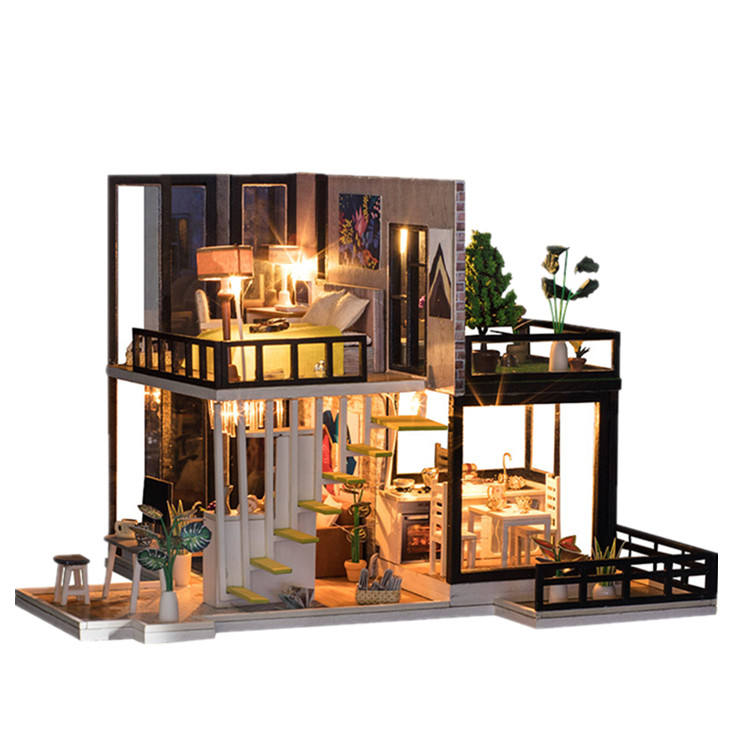 Diy big doll house wooden doll houses kitchen miniature villa dollhouse furniture kit travaux manuels adulte not include glue