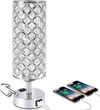 3-Way Dimmable Touch Control Crystal Table Desk Lamp With Dual Fast Quick USB Charging Ports and AC Outlet For Bedroom