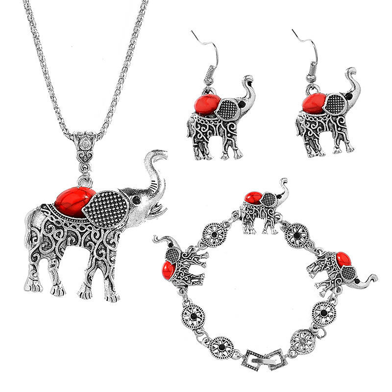 VRIUA Fashion Green African Jewelry Sets for Women Vintage Silver Color Elephant Pendant Necklace Earrings Bracelets Jewellery