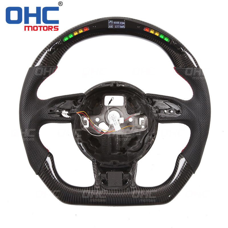 LED Carbon Fiber Steering Wheel Compatible with Audi S3 S4 S5 RS3 RS4 RS5 RS6 RS7 OHC Motors