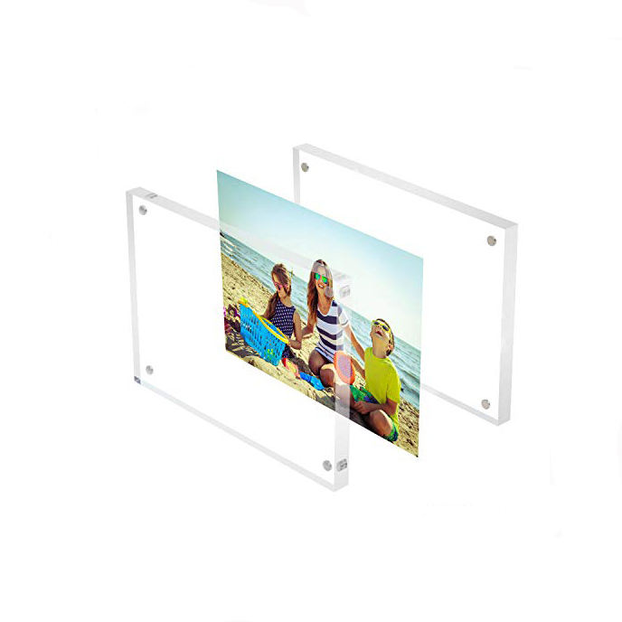Desktop Acrylic PhotoFrame Holder Double Side 4x6 inches Acrylic Picture Display Frame