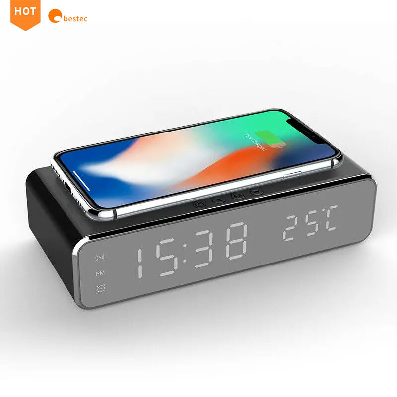 Multi-Function qi Wireless Charger with Desktop LED Digital Thermometer Clock and Time memory for Bedroom,Table