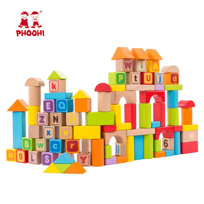 88 PCS Children Number Educational Toy ABC Wooden Alphabet Building Block For Kids 1+