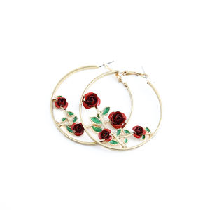 Hot Sale Trendy Gold Rose Hoop Earrings Beautiful Flowers and Leaves Alloy Earrings Gold Round Circle Women Jewelry Earrings