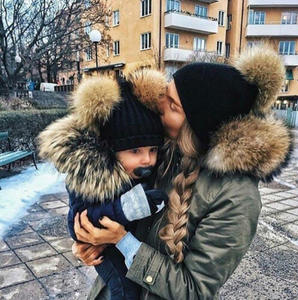 1Set 2pcs Cute Winter Mom Women Baby Kids Crochet Knitted Hat Wool Fur Bobble Ball Pompom Beanies Hat