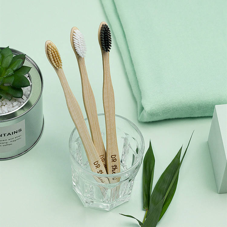 Eco friendly biodegradable pointed custom logo nylon bristle adult organic bamboo toothbrush