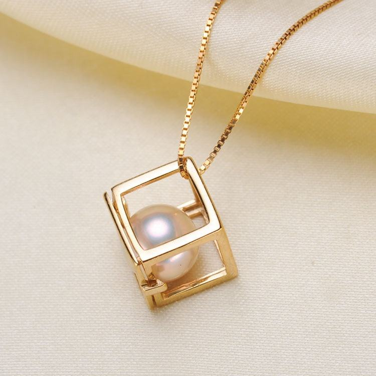 wholesale 925 sterling silver natural 8-9mm freshwater pearl pendant Rubik's cube shaped Christmas gift