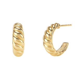 Fashion Silver Earring Jewelry 925 Sterling Silver Twisted Dome Earrings 18K Gold Vermeil Croissant Dome Earrings Hoop