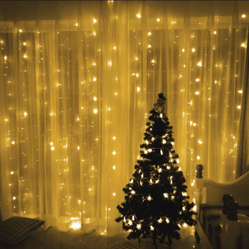 Chinese Factory 3*3M 300 LED Outdoor Park Bistro Balcony Christmas Twinkle Sparkling LED Net Curtain String Lights