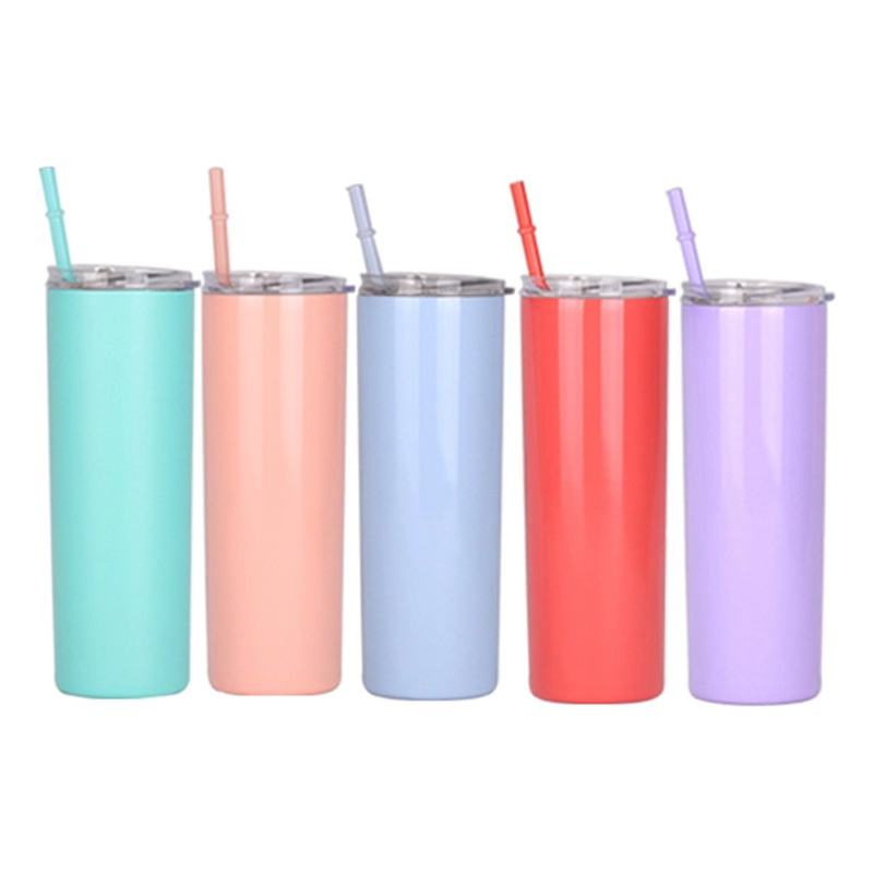 Wholesale 20oz Custom Double Wall 304 Stainless Steel Vacuum Straw Water Cup Insulated Tumbler Coffee Mugs with straw