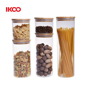 Borosilicate airtight storage box glass jar with bamboo lid