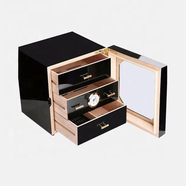 New Piano Lacquer Import Cedar Wood 3 Drawers Cubic Shape Black Humidor Wood Cigar Box