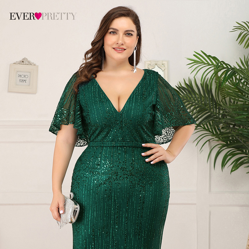 Ever-Pretty EP00838 V-Neck Sequin Plus Size Prom Dresses For Women
