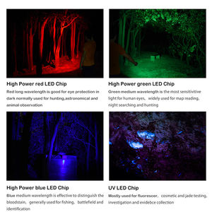 BORUIT BC09 Multifunction Green Red Blue UV Flash light  IP68 waterproof rechargeable Tactical LED Flashlight For hunting