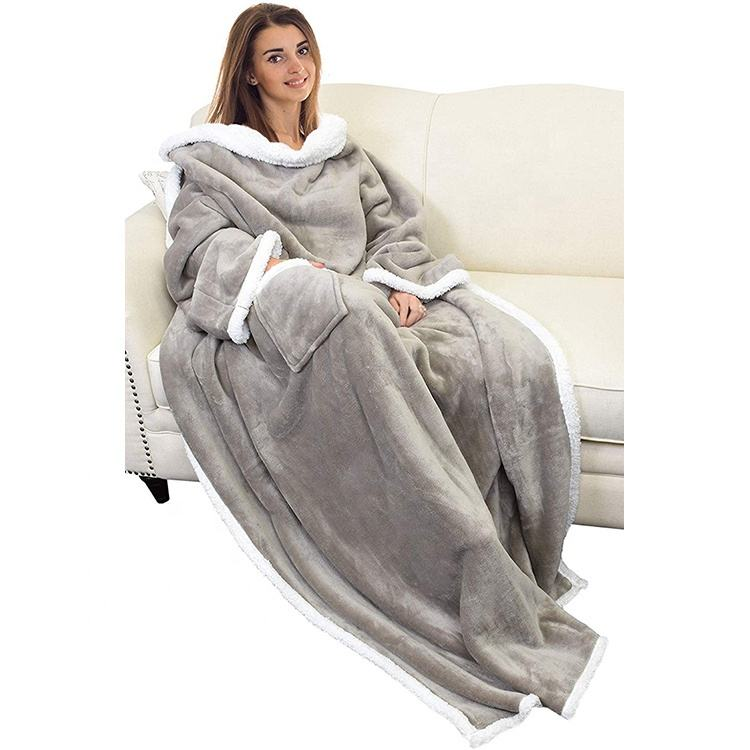 High Quality Cozy TV Sherpa Fleece Wearable Blanket with Sleeves for Adult