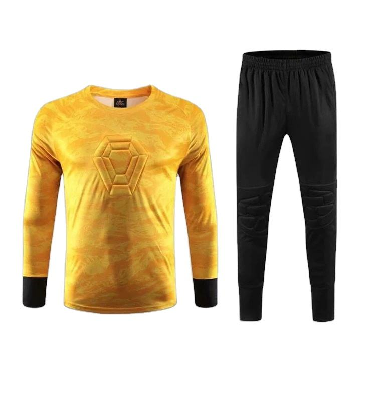 New Design Soccer Uniform Goalkeeper Sublimation Jersey with Pant Elbow and Knee with Pads Long Sleeve Cuff Rib Quality Sewing