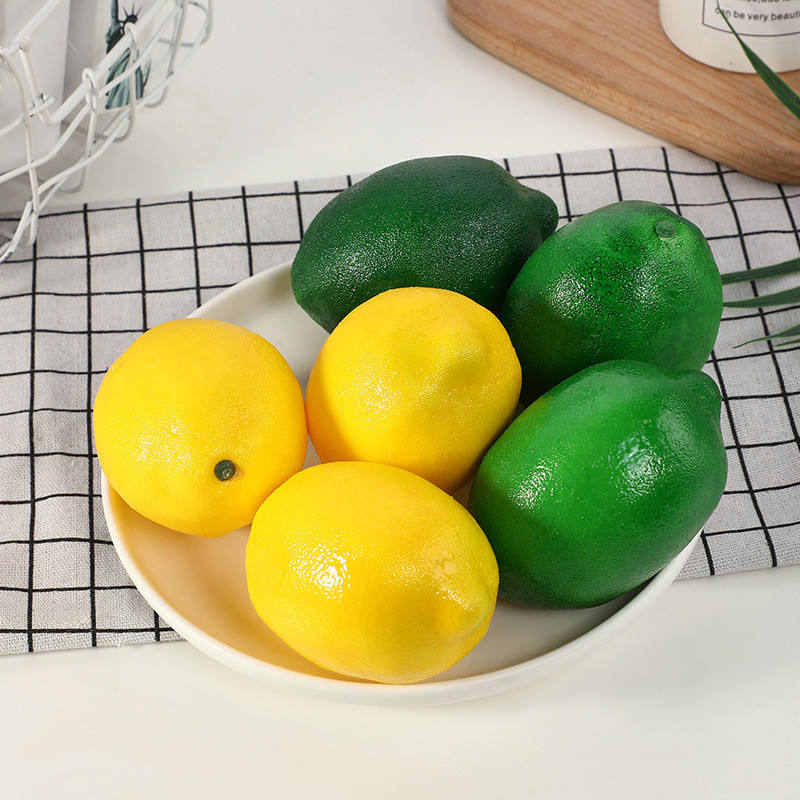 Factory cheap faux fruit room decor yellow mini artificial fruits lemon