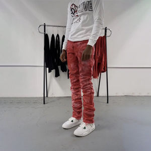 DiZNEW Wholesale Stacked Jeans Mens Trousers Fashion Washed Denim High Quality Vintage Designer Custom Skinny Fit Pants