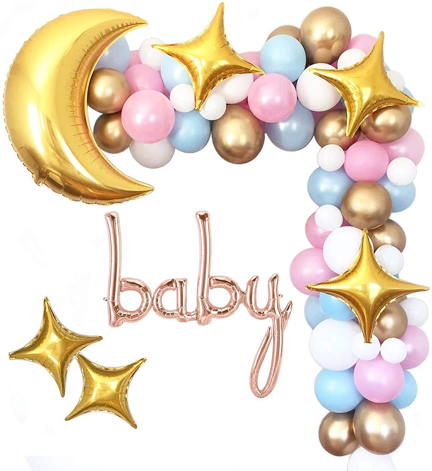 Twinkle Twinkle Little Star Baby Shower Decorations Boy or Girl Moon And Star Balloon Garland Arch Kit for Gender Reveal Party