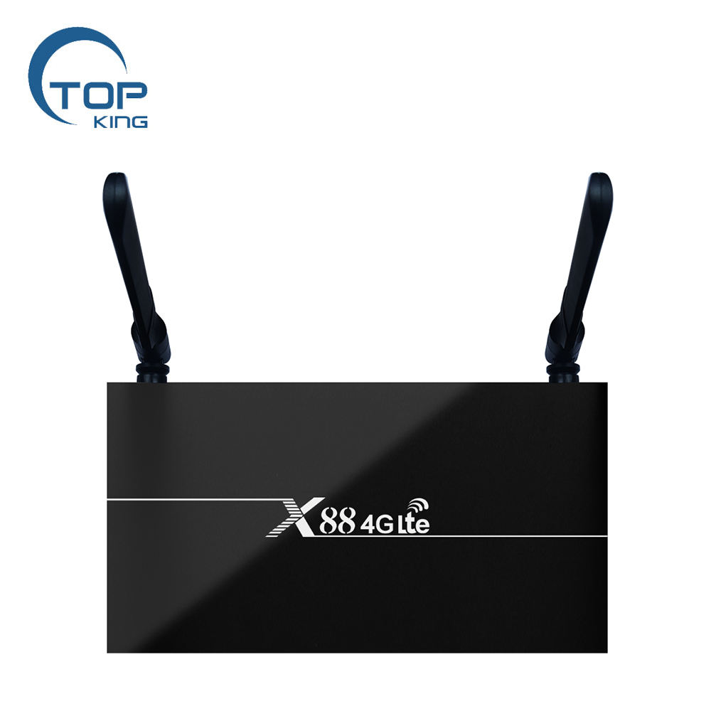 Top-king New sim card Network Android TV box X88 4G Lte 2GB+16GB Android 9.0 2.4G&5G Dual Wifi Support Multi-Country